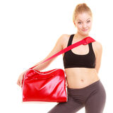 Sport. Fitness sporty girl in sportswear with gym bag Stock Image