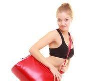 Sport. Fitness sporty girl in sportswear with gym bag Stock Photos