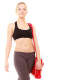 Sport. Fitness sporty girl in sportswear with gym bag Royalty Free Stock Photo
