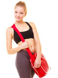 Sport. Fitness sporty girl in sportswear with gym bag Stock Photo