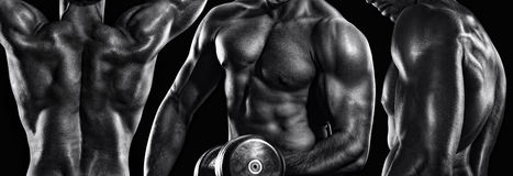 Sport and fitness. Strong bodybuilder athletic man pumping up muscles workout. stock photo