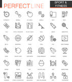 Sport and fitness thin line web icons set. Outline icon design. Sport and fitness thin line web icons set. Outline icon design Royalty Free Stock Photography