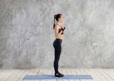 Sport, fitness, training and happiness concept - sporty woman hands with light red dumbbells stock photography