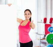 Sport fitness woman blank board copy space Royalty Free Stock Photography
