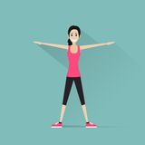 Sport fitness woman exercise workout girl flat Royalty Free Stock Photos