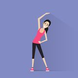 Sport fitness woman exercise workout girl flat Royalty Free Stock Images