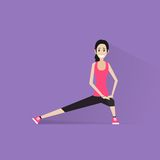 Sport fitness woman exercise workout girl flat Stock Photo