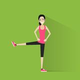 Sport fitness woman exercise workout girl flat Stock Photos