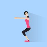 Sport fitness woman exercise workout girl flat Stock Images