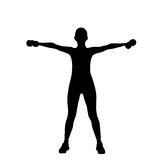 Sport fitness woman exercise workout silhouettes Stock Photography
