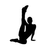 Sport fitness woman exercise workout silhouettes Royalty Free Stock Image