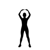 Sport fitness woman exercise workout silhouettes Royalty Free Stock Photos