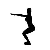 Sport fitness woman exercise workout silhouettes Stock Photo
