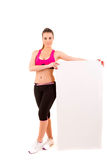 Sport fitness woman hold blank board Stock Photos