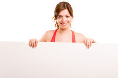 Sport fitness woman hold blank board Stock Photography