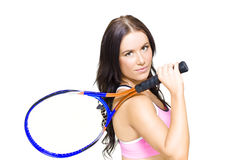 Sport Fitness Woman Holding Tennis Racket Royalty Free Stock Image