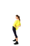 Sport fitness woman, young healthy girl doing exercises, full length portrait isolated Stock Photography