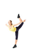 Sport fitness woman, young healthy girl doing exercises, full length portrait isolated. Over white background Stock Image
