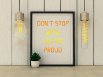 Sport, fitness, working out motivation Don't stop until you are Proud. Inspirational quotation. Success concept. Royalty Free Stock Images