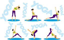 Sport fitness Yoga sequence icons set. Woman symbol emblems for web site Stock Image