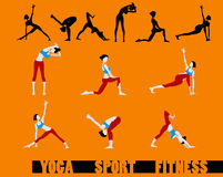 Sport fitness Yoga sequence icons set. Woman make a main pose - icons Stock Images