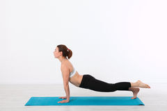 Sport. Fitness Yoga woman. Beautiful middle-aged woman doing yoga poses. Concept people are workout in yoga, training in. Sports clothes Stock Image