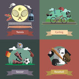 Sport 4 flat icons composition banner. Tennis cycling baseball soccer outdoor sport active lifestyle 4 flat icons composition banner abstract  vector isolated Stock Photo