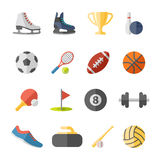 Sport flat icons. Fitness and Sport vector flat icons for web and mobile Royalty Free Stock Image