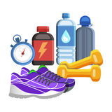 Sport flat icons, jogging and fitness kit elements. Royalty Free Stock Image