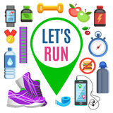 Sport flat icons, jogging and running kit elements. Stock Photography