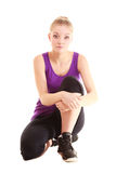 Sport. Flexible fitness girl doing stretching exercise Royalty Free Stock Photography