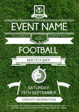 Sport Flyer. Vector illustration of sport flyer, invitation card with realistic grass background. Football tournament design template Stock Image