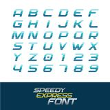 Sport font. Dynamic motion italic letters and numbers. Sport font. Dynamic motion italic letters and numbers with horizontal division lines. Fast speed concept Royalty Free Stock Images