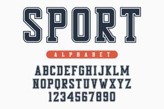Sport font, original college alphabet. Athletic style letters and numbers for sportswear, t-shirt, university logo. Vector. Sport font, original college vector illustration