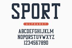 Sport font, original college alphabet. Athletic style letters and numbers for sportswear, t-shirt, university logo. Vector. Sport font, original college Royalty Free Stock Photos