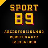 Sport font. Vector alphabet with latin letters and numbers. Sport font. Vector alphabet with latin letters and numbers Stock Images