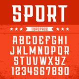 Sport font. Vector alphabet with latin letters and numbers.  Stock Image