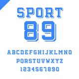 Sport font. Vector alphabet with latin letters and numbers. Sport font. Vector alphabet with latin letters and numbers in blue color Stock Images