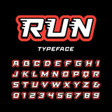 Sport font. Vector alphabet with tail effect letters and numbers vector illustration