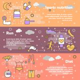 Sport food concept vector flat line art banner set. Vector set of horizontal banners with Sports nutrition, Run and Diet modern line art flat style design Royalty Free Stock Photos