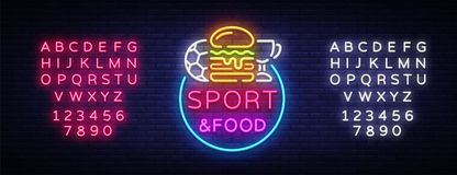 Sport Food Neon Sign Vector. Sports food logo in neon style, light signboard, bright billboard, night neon, sports bar. Pub, dining room, football online, fan vector illustration