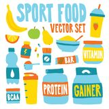 Sport food nutrition objects vector illustration isolated set. Sport food nutrition objects vector illustration set Royalty Free Stock Images