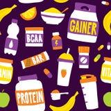 Sport food nutrition seamless vector pattern background purple. Sport food nutrition seamless vector pattern background Royalty Free Stock Images