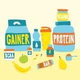 Sport foods nutrition and fruits cartoon vector illustration. Sport foods nutrition and fruits cartoon style vector illustration Royalty Free Stock Photos