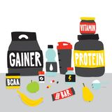 Sport foods nutrition and fruits cartoon vector illustration. Sport foods nutrition and fruits cartoon style vector illustration Royalty Free Stock Photo