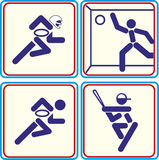 Sport football, rugby, baseball, handball icons. Sport football, rugby baseball handball Royalty Free Stock Image