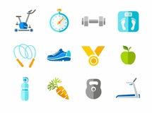 Sport, forma fisica, palestra, icone variopinte Fotografia Stock Libera da Diritti