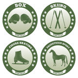 Sport2. Four logos of sports such as box, skiing, figure skating, equestrian Stock Photos