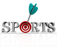 Sport - freccia in Bulls-Eye Fotografia Stock Libera da Diritti