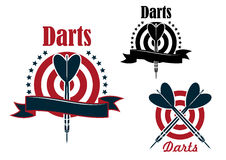 Sport game emblem with darts and board Stock Photo